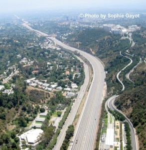 The closed 405 freeway with no traffic in the Sepulveda pass, at the Getty Center