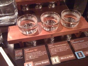 A flight of sake with tasting notes