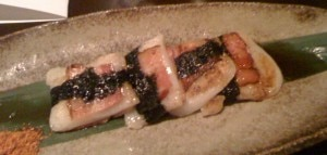 Bacon-wrapped mochi with nori