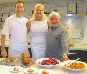 Chefs Ian Gresik and Celestino Drago of Drago Centro with Sophie Gayot