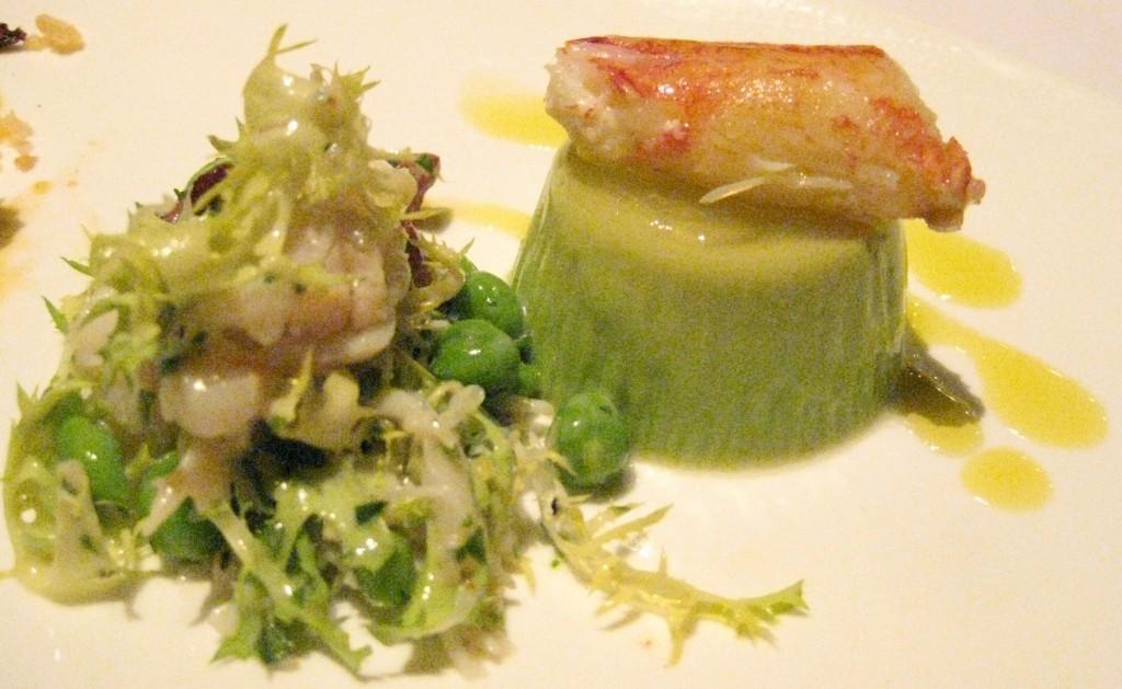 Dungeness crab & pancetta salad with English peas & spring garlic panna cotta