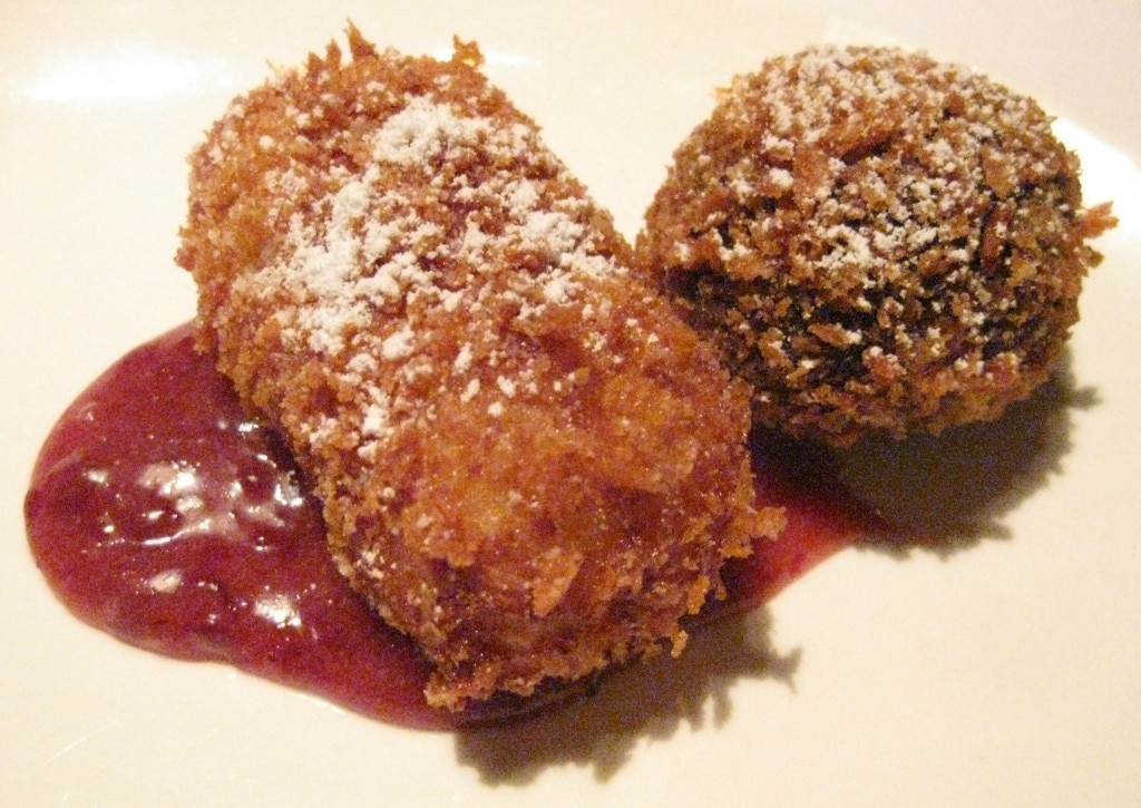 Fritto misto: chocolate arancini with marshmallow center, crispy fried cream and amarena cherry aioli