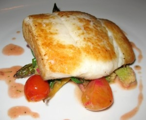 Seared halibut with mashed Yukon gold potatoes, capers, lime sauce and brown butter