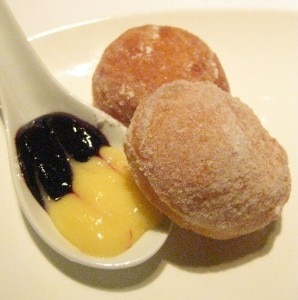 Zeppole al lemoni: Italian donuts cooked to order with meyer lemon curd and berry Earl Grey conserva