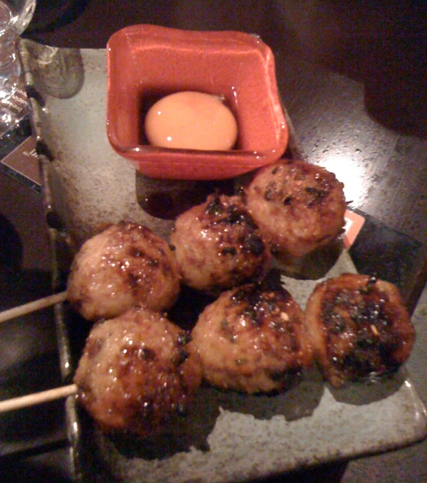Chicken meatballs with egg yolk