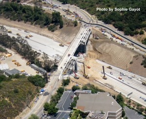 The Mulholland Bridge over the 405 freeway under demolition