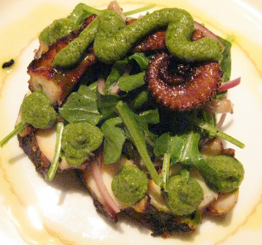 Wood grilled octopus: olive oil braised potatoes with pickled red onion and salsa verde