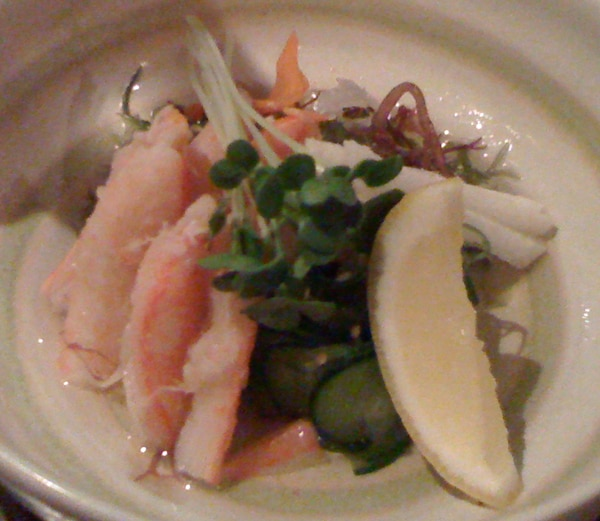 Kani su salad with snow crab, yam, ginger and cucumber