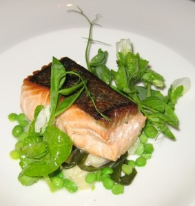 Sitka, Alaska troll-caught king salmon, sautéed, with English peas, potato gnocchi, and onion soubise