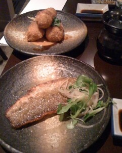seabass and croquettes1 241x300 Grilled striped sea bass with shiso lemon butter; snow crab croquettes with creamy miso