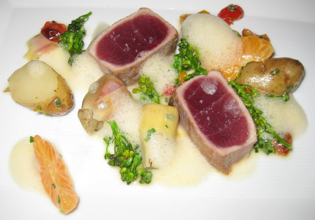Ecuadorian bigeye tuna, seared rare, with baby artichokes, Ozette potatoes, and Fremont tangerines