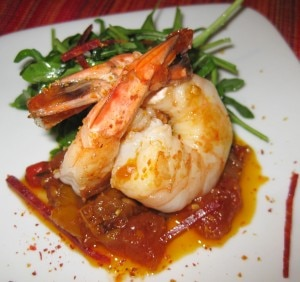 shrimp chorizo 300x282 Sautéed shrimp and chorizo with citrus piperade mesclun salad