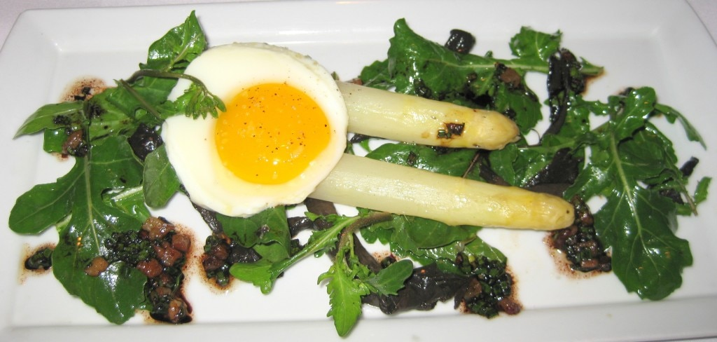 Holland white asparagus with black trumpet mushrooms, Gloria's arugula, and sunny side up egg