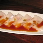 Kanpachi usuzukuri: thinly sliced amberjack with yuzu pepper