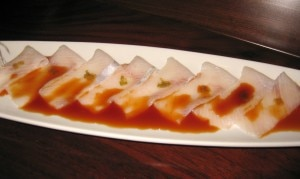 amberjack 300x179 Kanpachi usuzukuri: thinly sliced amberjack with yuzu pepper