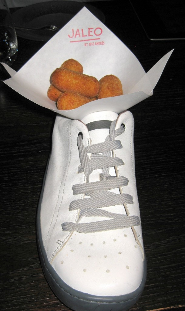 Croquetas de pollo: traditional chicken fritters in a shoe