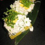 Chicken sushi: celery, cilantro and huancaina sauce