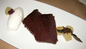 Chocolate terrine: summer fruit garnish and fresh cream