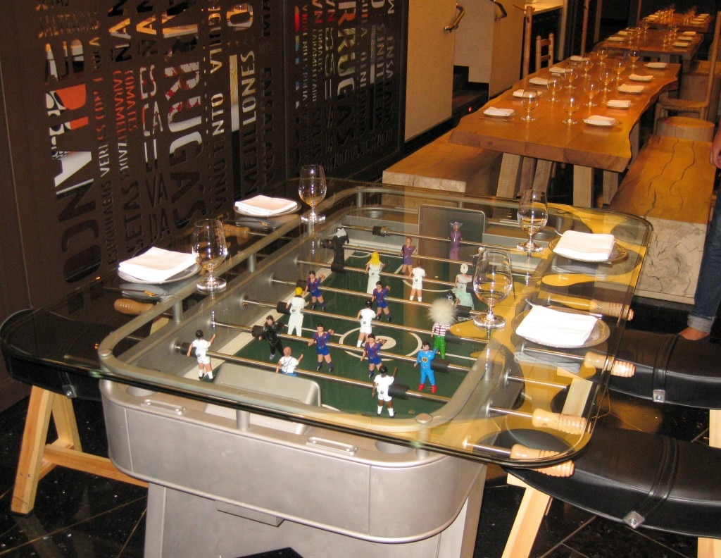 Foosball table ready to welcome you to dine