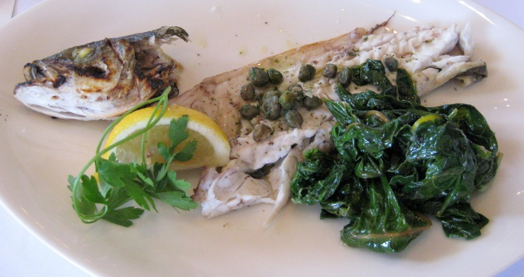 Lavraki Horta: sea bass with rainbow swiss chard, bloomsdale spinach, lemon, olive oil and sea salt