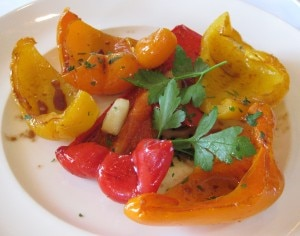 Marinated peppers: assorted sweet peppers grilled with olive oil, aged balsamic and sea salt