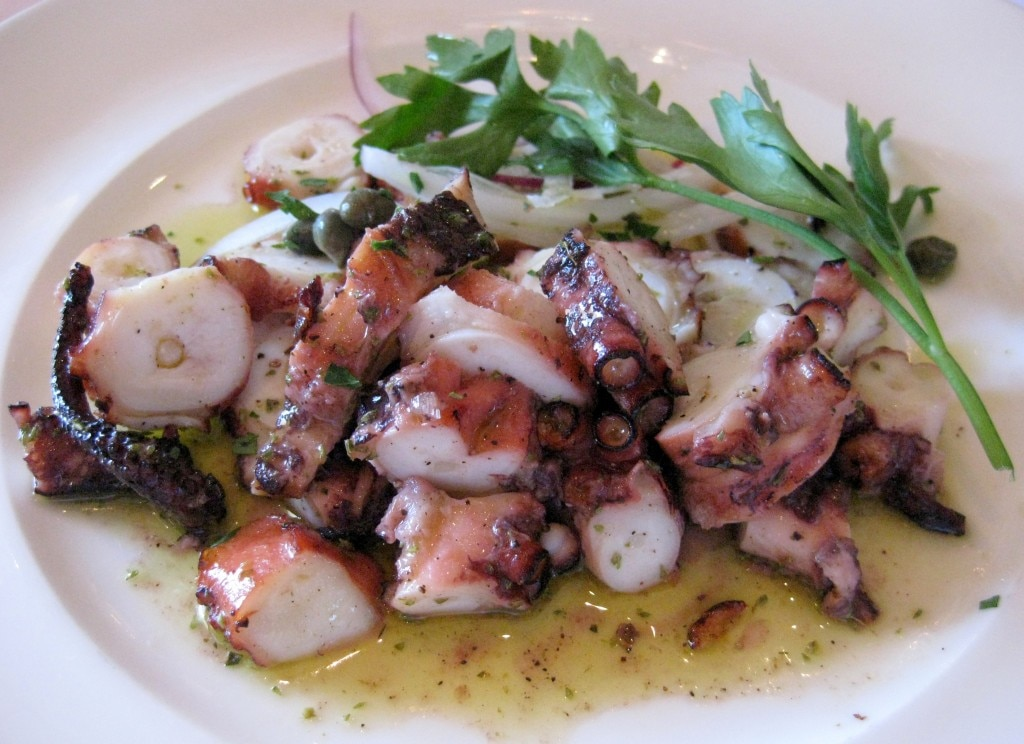 Grilled octopus: sashimi quality Mediterranean octopus, charcoal-broiled