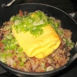 Oxtail fried rice: daikon, shiitake and bone marrow