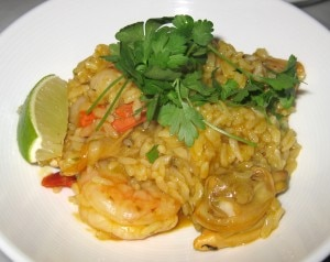 Arroz con erizo: Peruvian paella, mixed seafood and sea urchin sauce