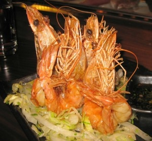 Salt & pepper shrimp: lemon ponzu & spicy lettuce