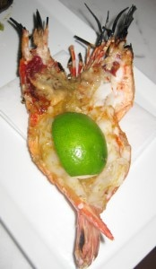 Santa Barbara prawn: lemon grass and yuzu kosho pesto