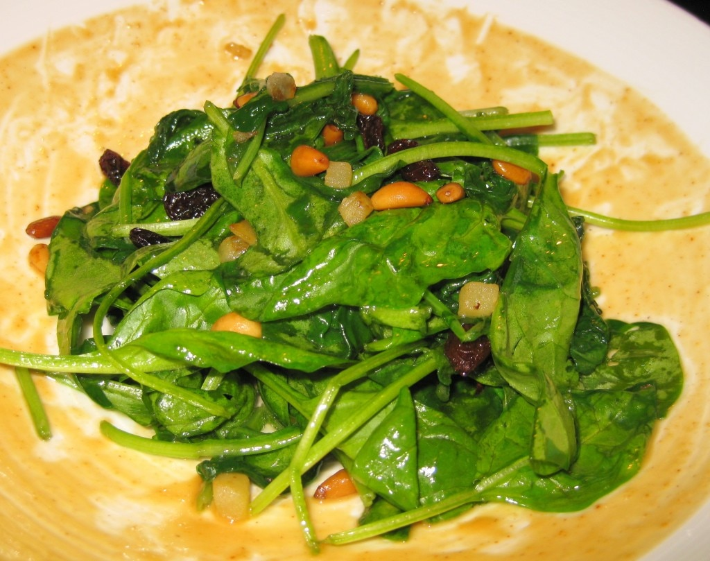 Espinacas a la catalana: sautéed spinach, pine nuts, raisins and apples