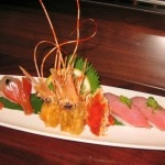 Live botan ebi and blue fin tuna: raw spotted shrimp (left) with fatty blue fin tuna (right)