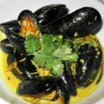 Thai mussels: Indian curry, garlic, cumin, lemongrass, coconut milk and cream