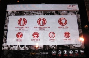 Wine list on an IPad