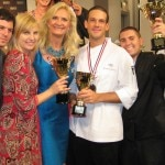 The winners, from left to right: Sommelier Mark Sadr, Mixologist Tricia Alley, Sous-chef Alexandre Derenne, Pastry chef Matthieu Chamussy, Culinary Student Mark Wheeler with Sophie Gayot