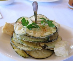 zucchini 300x251 Milos special: lightly fried zucchini, eggplant, tzatziki and kefalograviera cheese