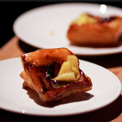 Pork belly + pineapple tarte tatin