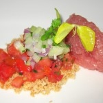 Ahi tuna tartar with Tuscan panzanella salad