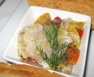 branzino ceviche 300x245 Branzino lemon ceviche: red onion, tomato, fennel and dill
