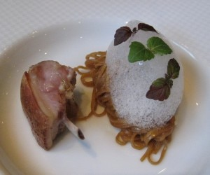 cote cochon 300x250 Pork chop with caramel soy sauce and shiso spaghetti