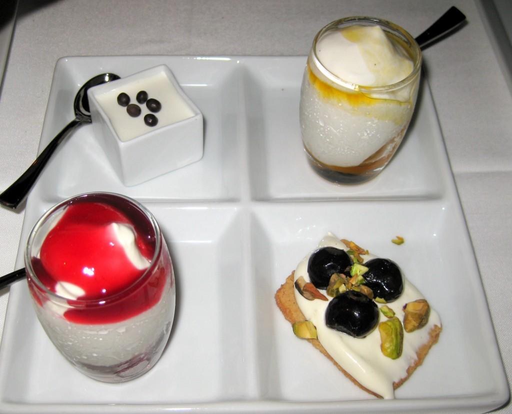 Desserts: chocolate pot de crème, mango sorbet, raspberry sorbet, dessert crostini