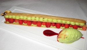 Fraises des bois millefeuille with avocado mousse and coriander sorbet