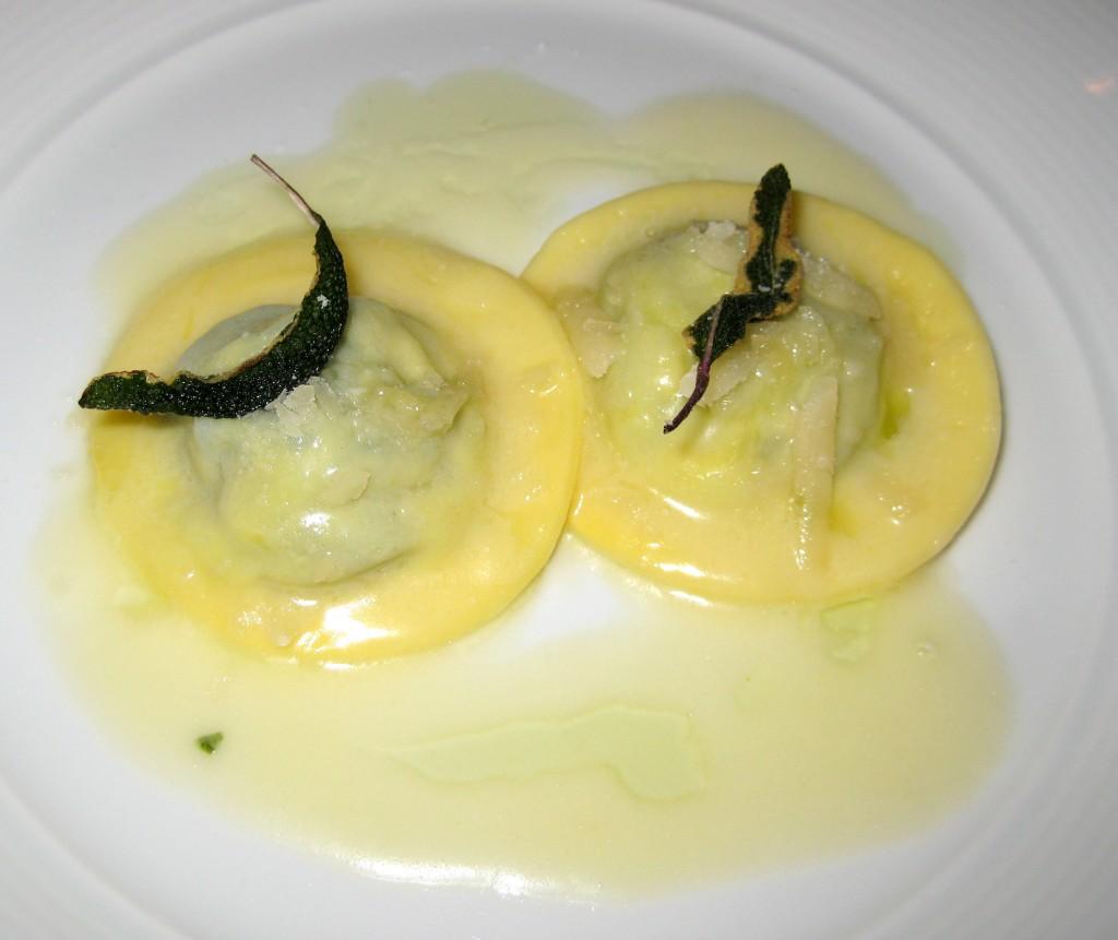 Spinach and buffalo ricotta ravioli: butter sage sauce