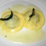 Spinach and buffalo ricotta ravioli: butter sage sauce