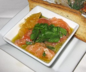 salmon ceviche 300x253 Salmon ceviche: orange, grapefruit, lemon and cilantro