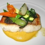 Wild sea bass: roasted vegetables, rosemary and giardiniera