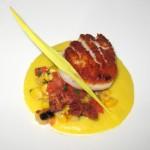 Seared sea scallops: cauliflower puree, pancetta and grape must