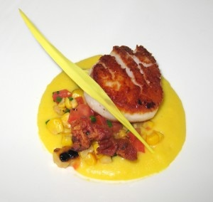 seared scallops 300x284 Seared sea scallops: cauliflower puree, pancetta and grape must