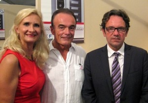 Mr. Richard Galy (center), mayor of Mougins & Mr. Frédéric Lefebvre, French Secretary of State for Trade, SMEs, Services, Tourism, the Professions and Consumption with Sophie Gayot