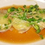 Edamame dumplings with Daikon radish and white truffle oil